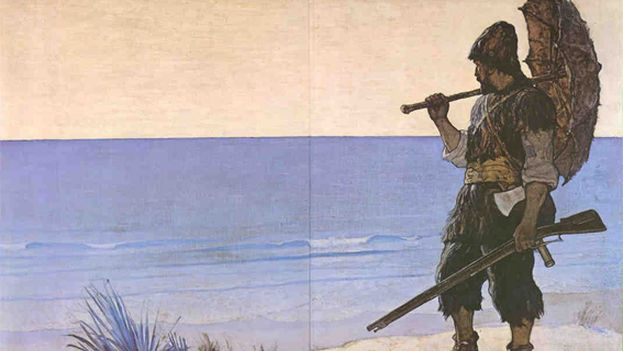 An illustration of Robinson Crusoe.