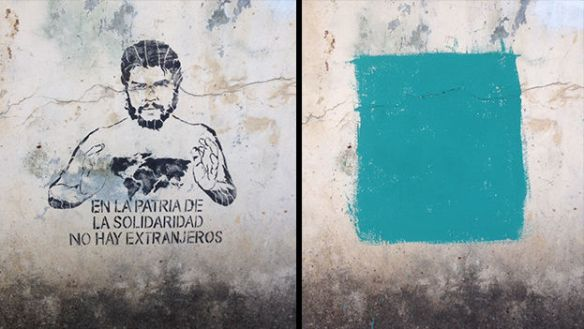 Graffiti painted on a wall and later erased in Havana. (14ymedio)