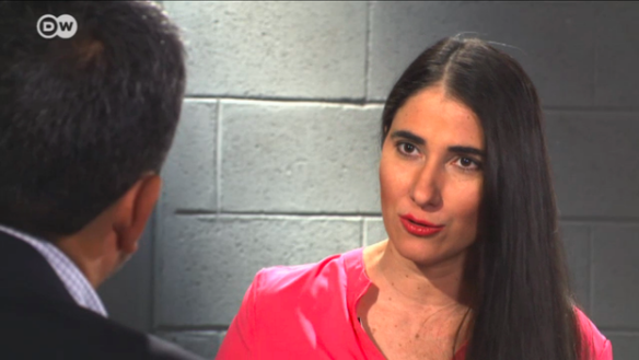 Yoani Sánchez inaugurates a series of interviews on the channel Deutsche Welle Latin America: The Voice of Your Rights. (Video capture)